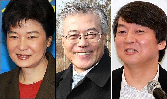 대선후보로 꼽히고 있는 박근혜 위원장과 문재인 이사장, 안철수 교수(왼쪽부터).