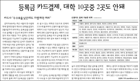 한겨레신문 등록금 신용카드 결재 기사