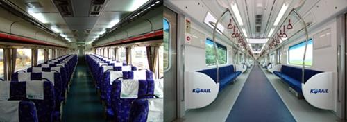 무궁화호의 특급형 내장과 전철의 통근형 내장 비교