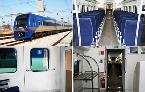 공항철도의 특급형 전동차인 직통열차 모습