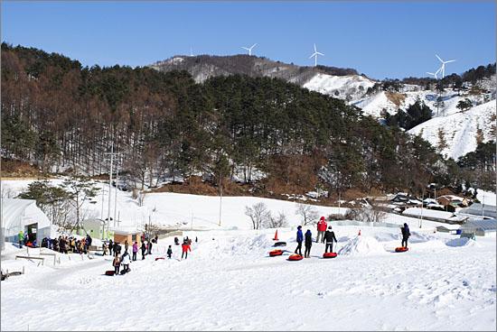 눈꽃마을 전국전통썰매대회 현장.