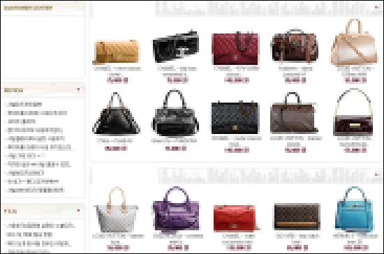 한 명품대여점 사이트. 대여가격과 상품 사진 등이 올라와 있다.