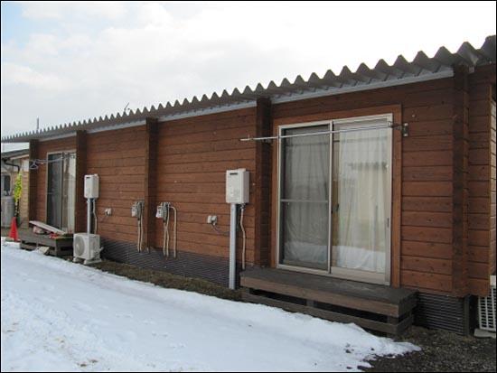 후쿠시마현 다테시에 있는 방사능 오염지역 피난자를 위한 가설주택.