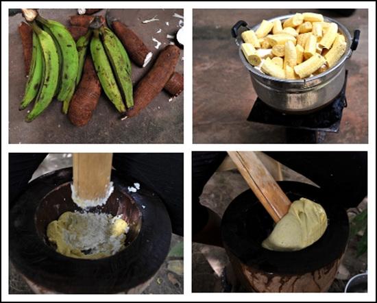 푸푸요리를 만들기 위해서 초록색의 바나나처럼 생긴 플란틴과 고구마처럼 생긴 카사바를 손질하여 찐 다음 찧고 있다.