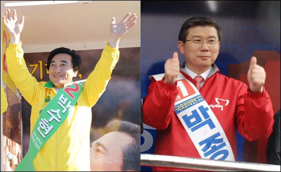 민주통합당 박수현 후보(왼쪽)와 새누리당 박종준 후보(오른쪽). 양 후보 모두 승리를 장담하고 있지만 딱히 누구라고 판단하기에는 어려울 정도로 접전을 펼치고 있다.