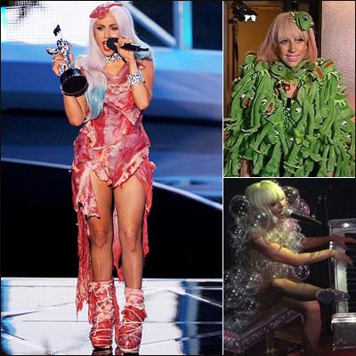 레이디가가는 2010년 MTV 비디오뮤직어워드에 생고기로 만든 드레스를 입고 나와 사람들을 경악하게 했다. 그의 패션에서 원단의 한계는 없어 보인다. 개구리 인형이나 플라스틱 모형으로 만든 비누방울을 몸에 붙인 패션도 유명하다.