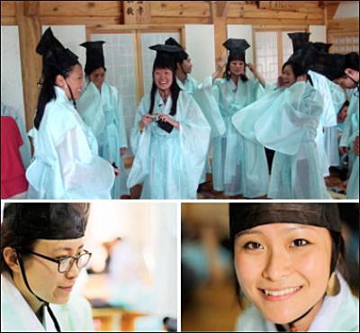 전통의상을 입고 한국 문화를 체험하는 인카스 해외입양인들.