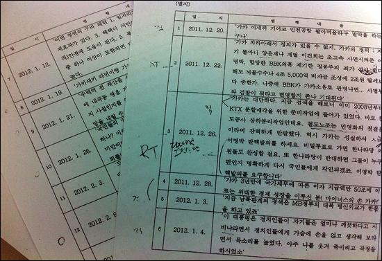 제7군단 보통검찰부에서 작성한 김재식 대위의 범죄사실 목록.