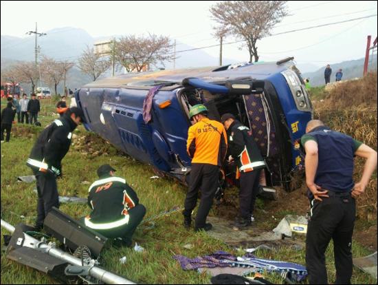 각시탈 사고 현장 31명의 보조 출연자가 타고 있는 차량은 경남 합천으로 가다가 불의의 사고를 당했다.