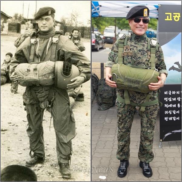 """문재인 """"그때는 무거운 줄 몰랐었는데"""" 1970년대 후반 특전사 공수훈련 시절 촬영한 문재인 의원의 사진(사진 왼쪽)이 지난해 책 '문재인의 운명'을 통해 공개되어 큰 인기를 얻은 가운데, 30여년이 지난 24일 오전 문재인 의원이 같은 장비를 작접 착용해 보는 기회를 가졌다. 서울 상암동 월드컵공원에서 특전사전우회가 주최한 '제1회 특전사 마라톤대회'에 참석한 문재인 의원은 고공훈련 장비를 전시한 곳에서 낙하산을 비롯해서 고공훈련 장비를 착용했다. 문재인 의원은 함께 특전사 근무를 한 동료들과 함께 장비를 착용하며 """"되게 무겁네. 옛날엔 어떻게 했지?"""" """"그때는 무거운 줄 몰랐었는데...""""라며 훈련 당시 상황을 떠올려 보기도 했다."""