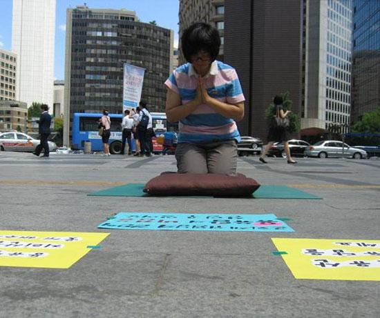 27일 오후, 서울 중구 대한문 앞에서 지리산 공동행동(준)의 회원이 '지리산 용유담 명승지정을 기원하는 천 배'를 올리고 있다.