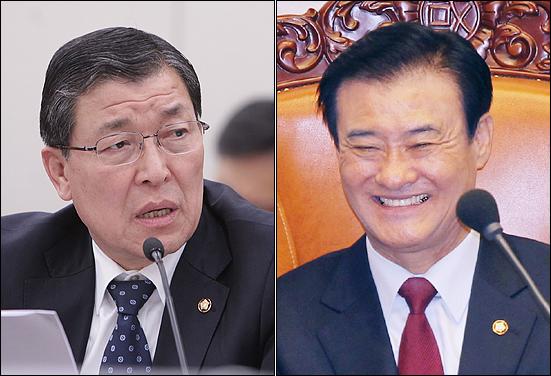 황진하 새누리당 의원(왼쪽)과 강창희 국회의장.
