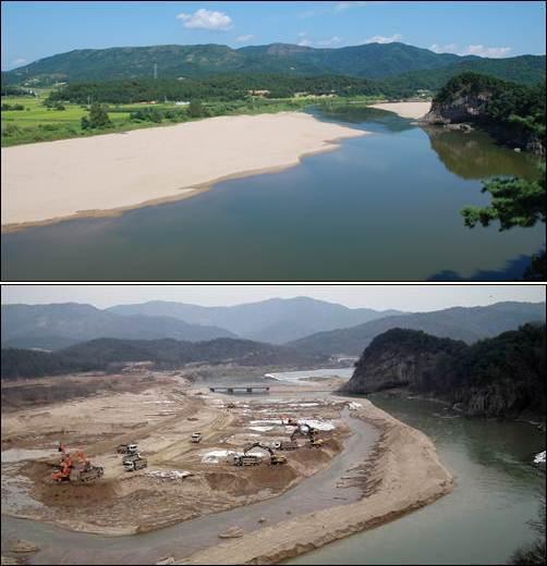 """금빛모래가 어울어진 제1비경 경천대. 그러나 """"모래가 홍수를 일으킨다""""며 낙동강 중에 가장 아름다운 경천대의 모래를 다 파 버렸습니다."""