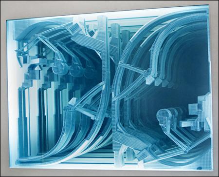 이불 I '무제(벽면)' 발광물질 나무 종합합성수지 형광램프 2007. 사진 PKM갤러리 제공