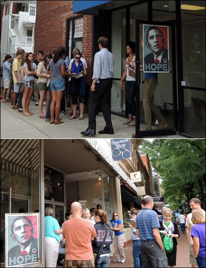버지니아 대학 근처 '코너'에서 입장권을 받기 위해 줄을 선 대학생들(위). / 오바마 캠페인 사무실이 있는 시내에도 사람들이 몰렸다.