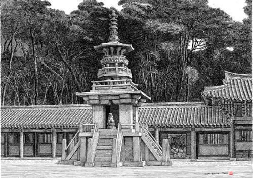 철저한 고증을 통해 훼손된 것으로 추정된 난간과 사면에 사자상을 복원하여 그린 경주 불국사 다보탑