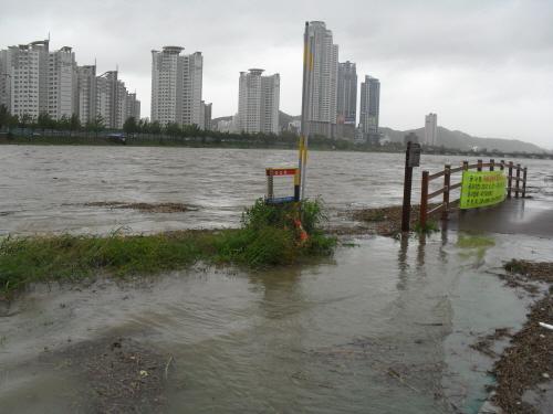 17일 오후 1시 현재 태화강이 넘쳐 태화강 정비공사로 만들어진 강변 인도가 잠겼다.