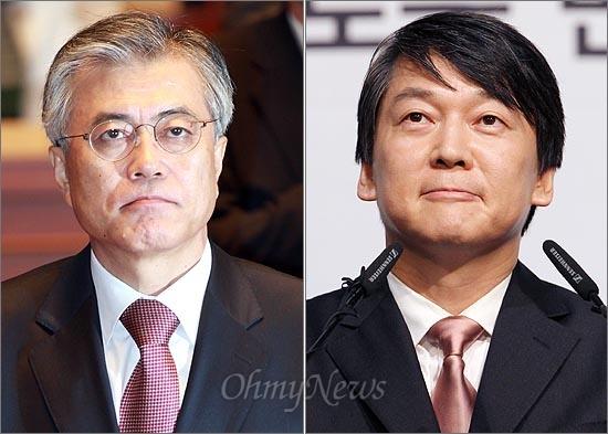 야권의 대선 후보인 문재인 민주통합당 후보와 안철수 후보.