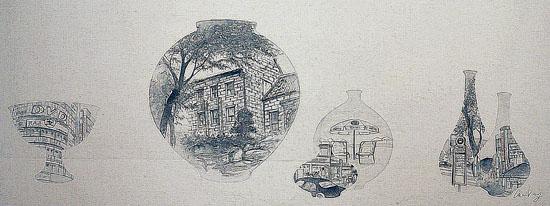 정연지 작가의 <귀거래도>, 천에 혼합재료, 120*45cm, 2012년 작품.