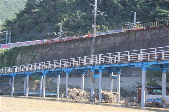 낙동강 물금취수장 부근에 있는 자전거길로, 다리 교각에 쓰레기가 걸려 있어 지난 태풍 '산바' 때 많은 물이 흘러 내렸음을 짐작하게 했다. 자전거길 위로 열차가 달리고 있다.