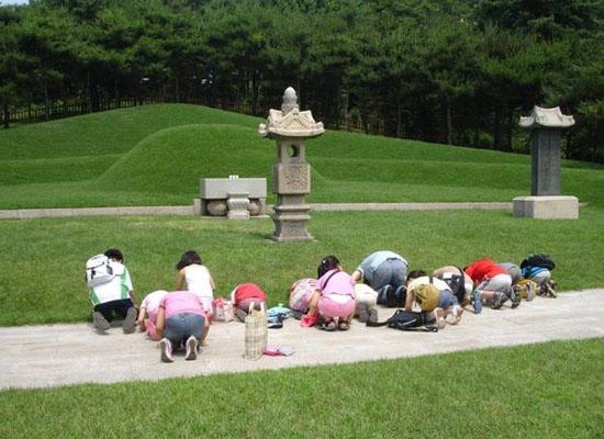 2009년 백범 60주기를 맞아 한 무리의 꼬맹이들이 유치원 선생님을 따라 백범 묘소를 찾아와 제각기 모양으로 꿇어 엎드려 절을 올리고 있다