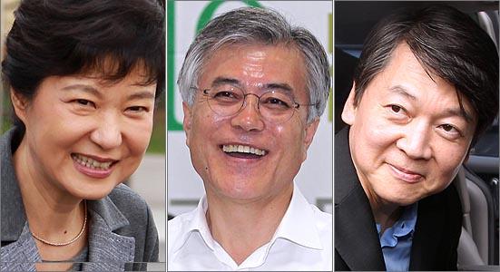 추석 직후 여론조사에서 박근혜 새누리당 대선 후보가 양자대결에서 문재인 민주통합당 후보와 안철수 무소속 후보에게 뒤처지는 흐름이 계속되고 있는 것으로 나타났다