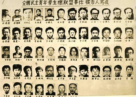 1974년 5월 27일 당국이 발표한 민청학련사건 명단