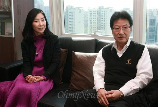 18일 오전 오마이뉴스 본사를 방문한 신은미 부부