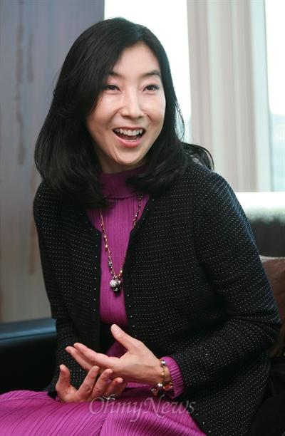 18일 오전 오마이뉴스 본사를 방문한 신은미씨.