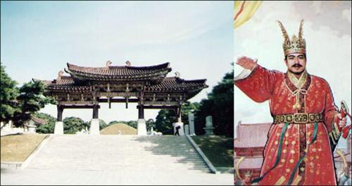 평양 동명왕릉(왼쪽)과 그의 초상. 김부식은 <삼국사기>에서 신라가 고구려보다 20년가량 먼저 건국되었다고 했다.