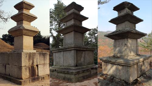 국가 '보물'인 경주 서악동 탑(왼쪽)과 효현리 탑(가운데), 그리고 '경북도 유형문화재'인 선본사 탑(오른쪽). 선본사 석탑도 거의 보물급이라는 사실을 강조하기 위해 나란히 놓아 보았다.