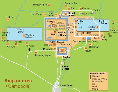위 지도에서 보듯 시엠립은 앙코르 와트를 포함하여 수많은 유적이 있는 곳이다.