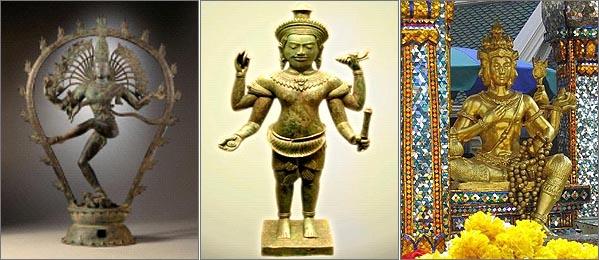 남부 인디아 촐라 왕조의 춤추는 시바(사진 왼쪽), 12세기 캄보디아의 비쉬누(가운데), 태국의 4면상 브라마(오른쪽)