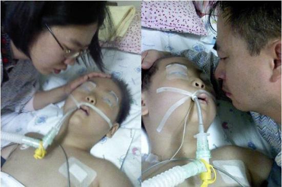 이별 여덟살 백혈병 어린이 종현이는 항암제 빈크리스틴이 척수강내로 잘못 주사돼 하늘나라로 떠났다. 엄마 아빠가 종현이와 이별을 하고 있다.