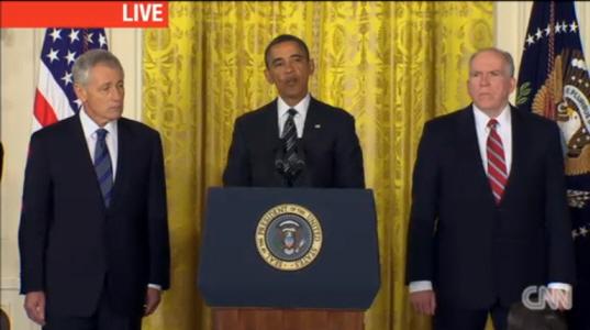 국방장관과 CIA 국장에 대한 지명 이유를 설명하고 있는 오바마 미국 대통령