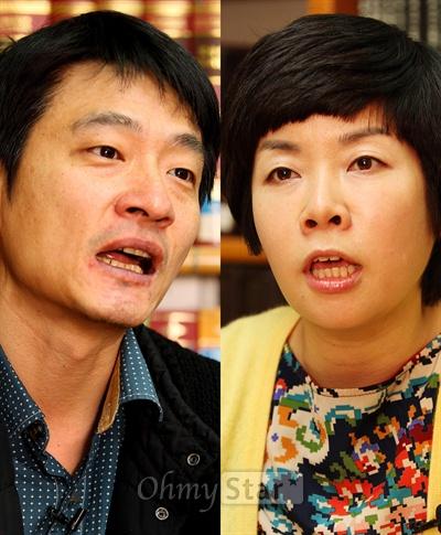 16일 서울 목동 CBS에서 대담을 가진 CBS 라디오 <김미화의 여러분>의 진행자인 희극인 김미화(오른쪽)와 오마이스타 김대오 국장.