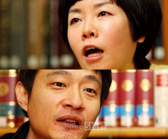 16일 서울 목동 CBS에서 대담을 가진 CBS 라디오 <김미화의 여러분>의 진행자인 희극인 김미화(위)와 오마이스타 김대오 국장.