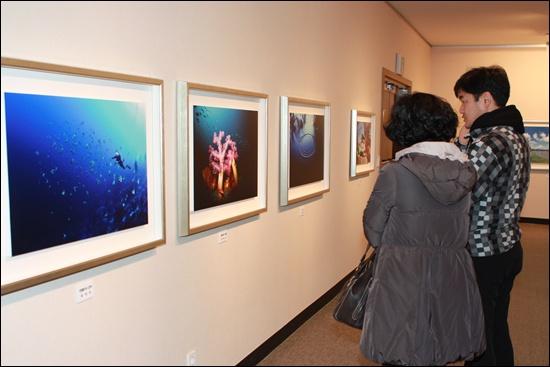 19일 순천문화예술회관에서 가진 아소포토클럽 사진전에서 한 시민이 유지수 작가의 작품을 구경하고 있다.
