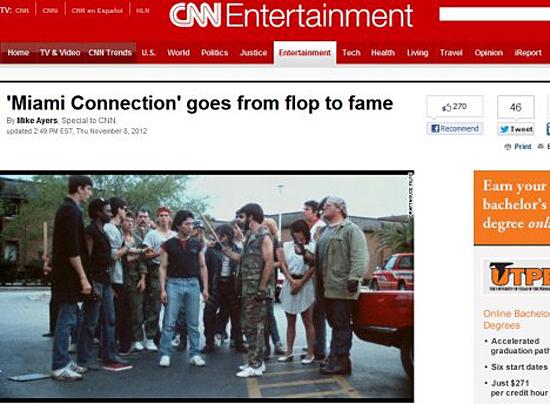 김영군 사범 제작 주연의 <마이애미 커넥션>을 엔터테인먼트 섹션 주요 기사로 다룬 CNN 인터넷판. '마이애미 커넥션, 인기 바닥에서 명성으로 뒤바뀌다'는 타이틀이 영화의 화려한 부활을 말해주고 있다.