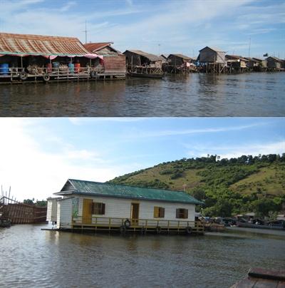 톤레삽 호수의 수상가옥(위 사진)과 한국 교회(아래 사진), 오른쪽에 십자가가 보인다.