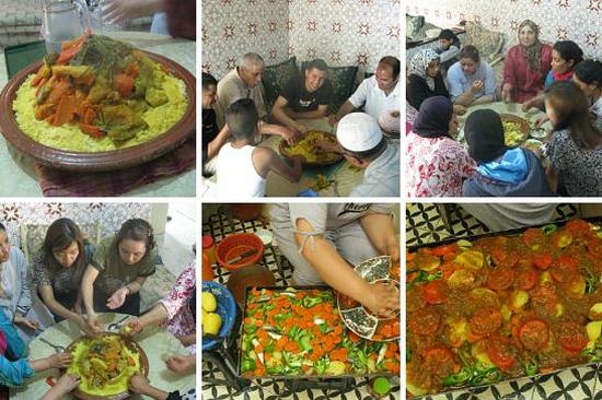 모로코 전통 음식인 타진과 꾸스꾸스. 금요일마다 먹는 꾸스꾸스는 모든 가족이 모이는 장이 된다.