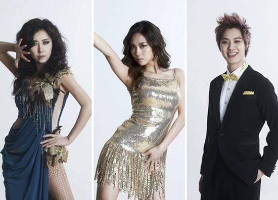 MBC 예능 프로 <댄싱 위드 더 스타>에 출연하는 가수 김완선(왼쪽부터), 미쓰에이 페이, 엠블랙 승호.