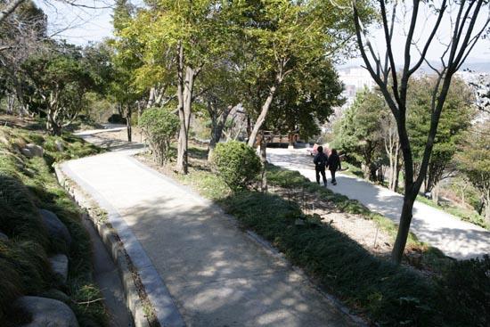 목포 유달산 산책로. 조각공원과 달성공원을 이어주는 길을 시민들이 산책하고 있다.