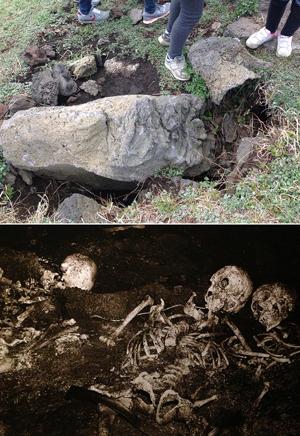 입구가 봉쇄된 다랑쉬굴. 아래 사진은 1991년 다랑쉬굴이 처음 발견된 뒤 내부 모습을 그대로 복원한 것이다.