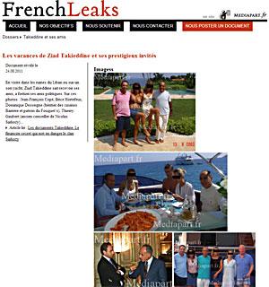 지아드 타키닌이 브리스 오르트프(전 내무부장관)와 장 프랑소와 코페(UMP 대표) 그리고 그들의 부인들과 함께 한 사진(2003년8월)을 공개한 프렌치리크스.