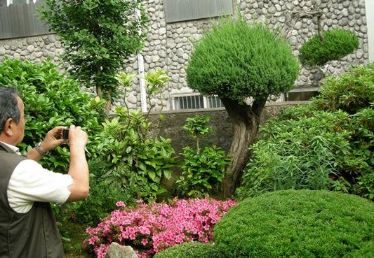 일본인 방문객이 조선미곡창고 사택 정원 모습을 카메라에 담고 있다.