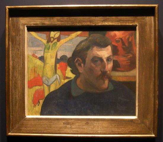 <'황색 그리스도가 있는 자화상>(캔버스에 유화, 38×46cm, 1890~1891, 파리 오르세미술관 소장)은 성속(聖俗)이 하나로 합쳐진 종합주의 화풍의 작품 중 하나다. ⓒ Musee d'Orsay, Paris, France