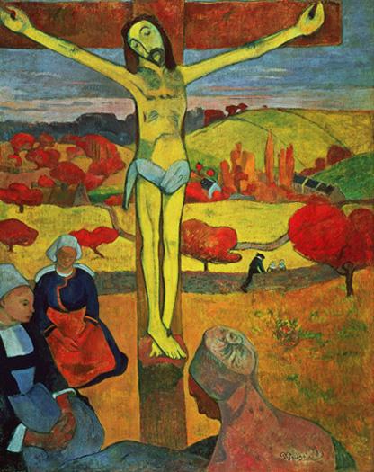 <황색 그리스도>(캔버스에 유화, 92.1×73.3cm, 1889, 미국 올브라이트녹스 아트갤러리 소장)은 브르타뉴에 온 현장 예수를 형상화해 당시 통념을 깬 작품이다. 스테인드글라스처럼 단면색채로 처리해 인상파 화풍과는 다르다. 어떤 형식이나 규범에 얽매이지 않는 자유로움이 느껴진다. ⓒ Albright-Knox Art Gallery, Buffalo, New York