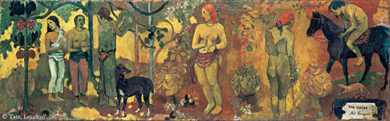 <파아이헤이헤(아름다움을 위하여_타히티목가)>(캔버스에 유화, 169.5cm×54cm, 1898, 영국 테이트모던미술관 소장)은 위 작품의 연작으로 대상을 보고 그린 게 아니라 상상해 그린 것이다. 장식적인 요소가 눈부시게 아름답다.