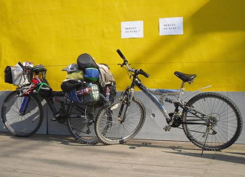 대통령의 자전거와 내 자전거 고 노무현 대통령이 타고 다녔던 자전거다. 필자의 자전거만큼이나 싸구려 철TB였다. 대신 내 자전거는 짐이 주렁주렁 달려있는데 대통령의 자전거는 아주 단출하다. 그 분이 생전에 계셨다면 필자에게 쌀을 주었을 지도 모른다. 불쌍하다고. 생각해보니 당시 봉하마을에서 통김치를 얻었던 기억이 난다. 덕분에 한동안 김치 걱정은 안했다. 2010년 여름에 찍은 사진이다.